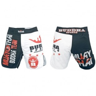 SHORT MMA BUDHA NEGRO Y BLANCO