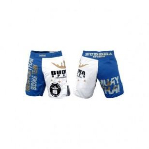 SHORT MMA BUDHA AZUL Y BLANCO